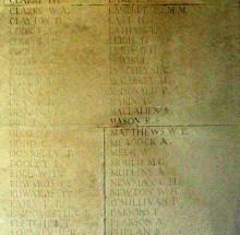 Panel on the Arras Memorial for Sam Mallalieu