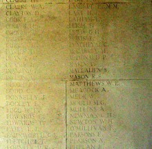 Panel on the Arras Memorial for Sam Mallalieu