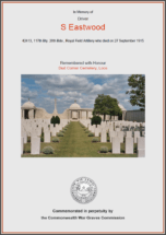CWGC Certificate for Sam Eastwood