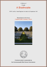 CWGC Certificate for Albert Braithwaite, 1880-1918
