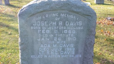 Headstone for Joseph R Davis and family