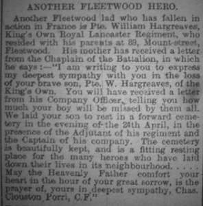 Newspaper clipping reporting on the death of William Hargreaves
