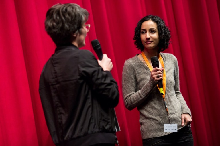 Director Mariam Ghani with Sandra Schaefer at the Berlinale premiere of WHAT WE LEFT UNFINISHED