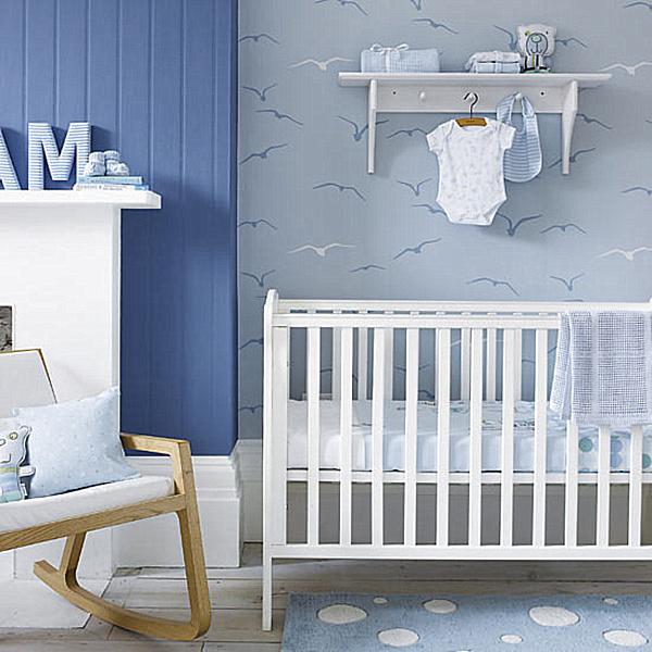 blue-wall-designn-with-Baby-Boy-neutral-baby-room-ideas