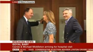Middleton Parents Arrive at Lindo Wing to visit Baby Cambridge