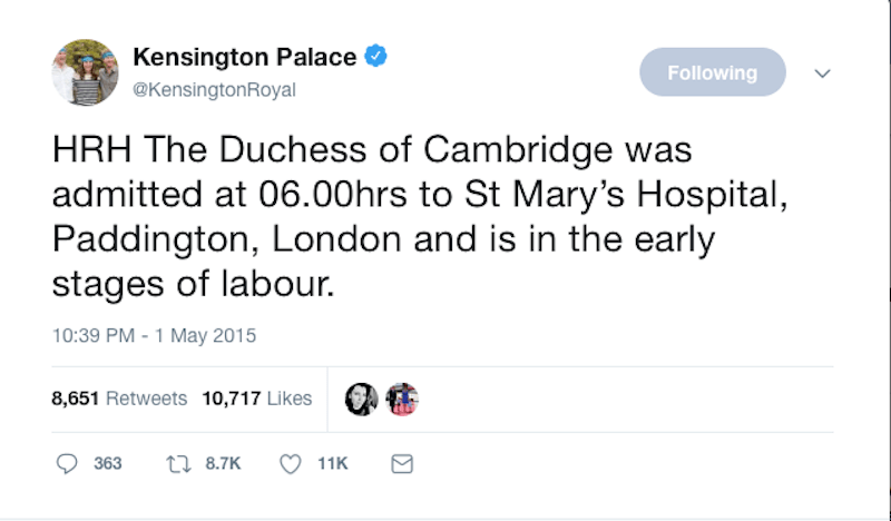 Kensington Palace Royal Baby Tweet