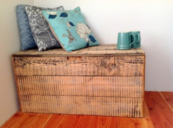 turniture from reclaimed wood in Balebarn Eco Lodge
