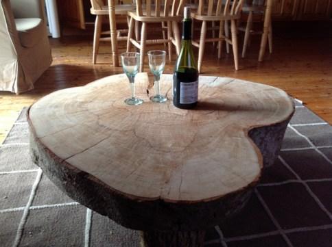 coffee table in Beech Eco Lodge, Wheatland Farm