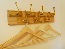 Upcycled wardrobe hooks, Otter Cottage, Wheatland Farm Eco Lodges in Devon