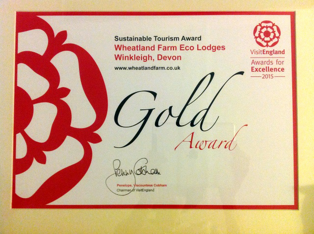 Visit England Gold Award for Sustainable Tourism 2015