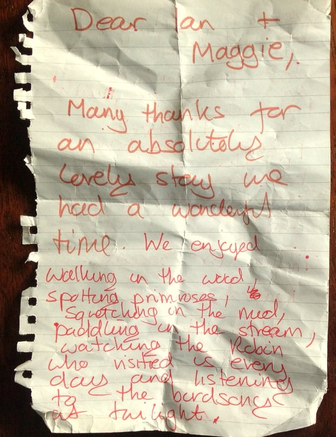 A thank you note from guests staying at Nuthatch Eco Lodge, Wheatland Farm, Devon