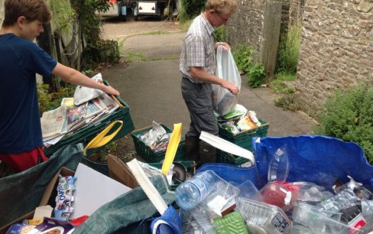 Recycling food plastic at Wheatland Farm's Devon eco lodges