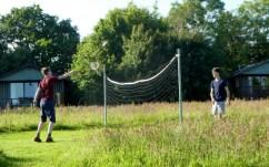 Playing badminton, Wheatland Farm Eco Lodges