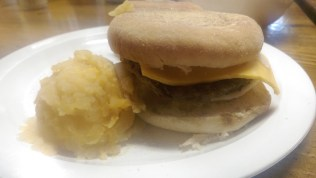 Our tasty English muffins with egg, cheese and a sausage patty!