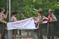 Troop 35 doing morning flags
