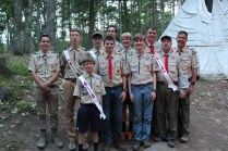 Troop 35 OA members at camp.