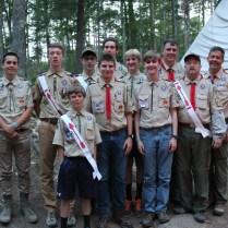 Troop 35 OA members at camp.