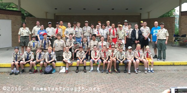 Troop 35 gathers for the traditional before loading photo! Happy travels