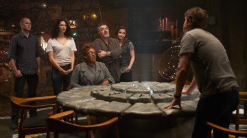 The Warehouse 13 team prepares to share the highlights of their careers. Photo Credit: SyFy