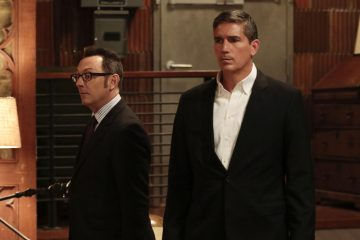 """""""Shotseeker"""" -- Reese protects an NYPD analyst whose investigation into a software glitch has drawn the attention of Samaritan. Also, Reese and Fusco are threatened by an ally of Elias, who is looking for revenge for his friend's death, on PERSON OF INTEREST, Tuesday, May 17 (10:00 -- 11:00 PM ET/PT) on the CBS Television Network. Pictured L-R: Michael Emerson as Harold Finch and Jim Caviezel as John Reese Photo: Giovanni Rufino/Warner Bros. Entertainment Inc. ©2015 WBEI. All rights reserved."""
