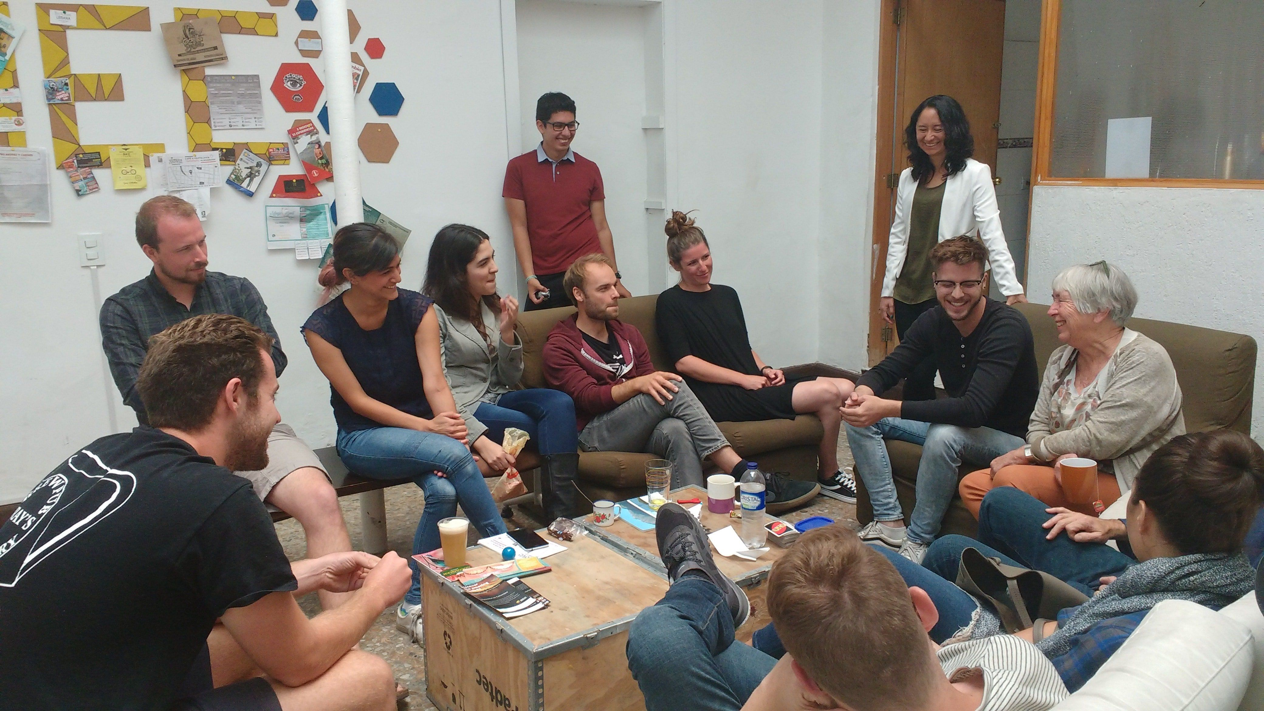 All people together laughing for a while, share experiences with a nice conversation