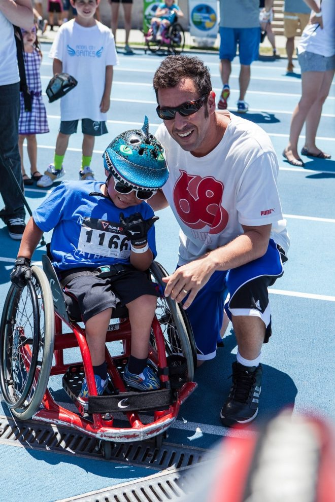 Adam Sandler stopped by the 2015 Angel City Games for a game of wheelchair basketball (Photo Courtesy of Tiffany J Photography)
