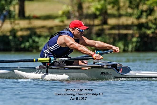 Bennie Jose Perez rowing in 2017 Texas Rowing Championship