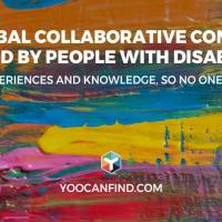 "Colorful background with text reading, ""The Global Collaborative Community for and by People with Disabilities, Sharing Experiences and Knowledge, So No One Feels Alone. Yoocanfind.com"""