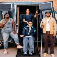 Gabourey Sidibe, Grant Rosenmeyer, Hayden Szeto, and Ravi Patel with a blue van used for the road trip in the movie Come As You Are