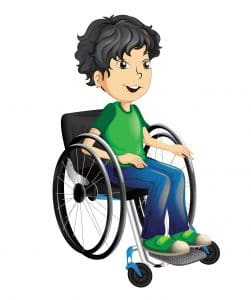 a little boy character in a manual wheelchair