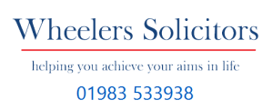 Wheelers Solicitors Banner with telephone number: 01983 533938