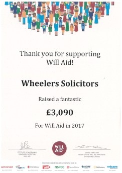 Wheelers Solicitors certificate of achievement for Will Aid | Newport Isle of Wight