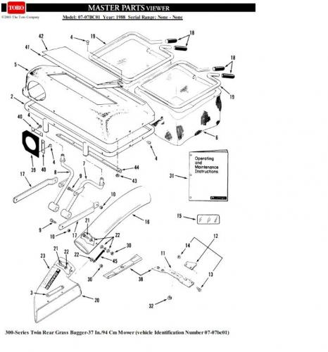 Mower Rotary 37in SD 1988 07-07BC01 Bagger Twin rear 7 cu