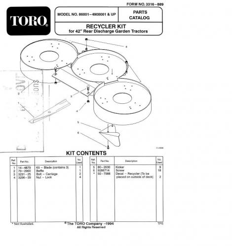 Mower Rotary 42in RD 1991-1997 1999-2000 2002 86001