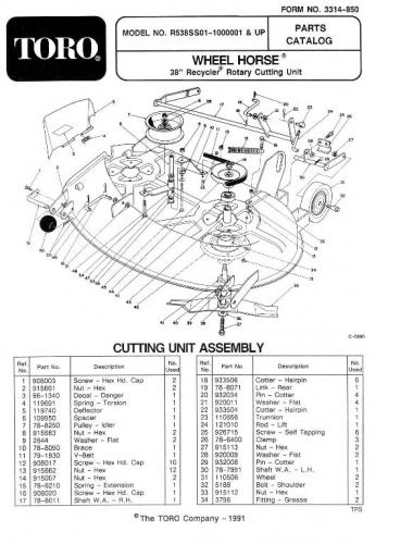 Mower Rotary 38in SD 1991 R5-38SS01 Recycler OM IPL sn.pdf