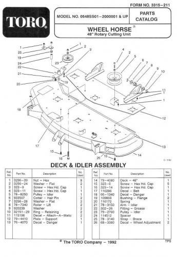 Mower Rotary 48in SD 1992 05-48SS01 240 OM IPL Setup sn