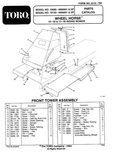 Tractor 1994 10-32 & 12-32 RER Recycler D&A OM IPL Wiring