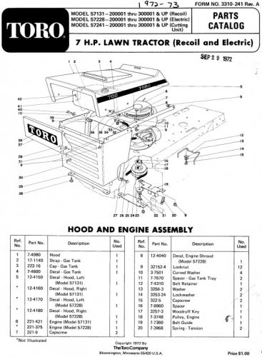 Tractor 1972 Toro 7hp Lawn tractor D&A IPL Wiring.pdf