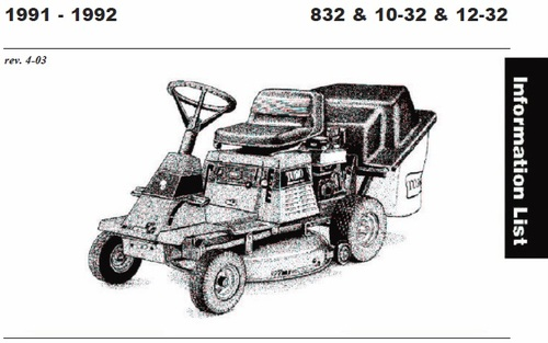 Tractor 1992 10-32 & 12-32 RER Recycler Wiring Detailed