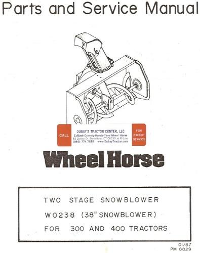 Snowthrower 38in 1987-1988 W0238 Ber-Vac 2-stage OM IPL