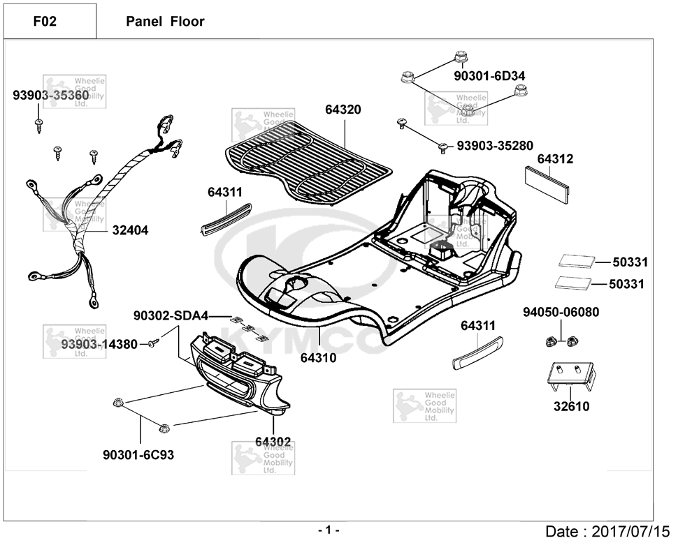 Kymco Micro EQ10AA Mobility Scooter Diagram Directory