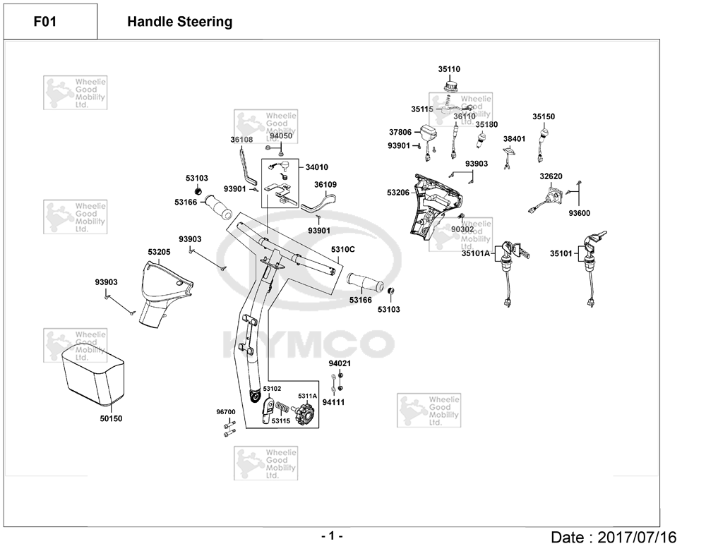 Kymco Mini S EQ20CC Mobility Scooter Diagram Directory