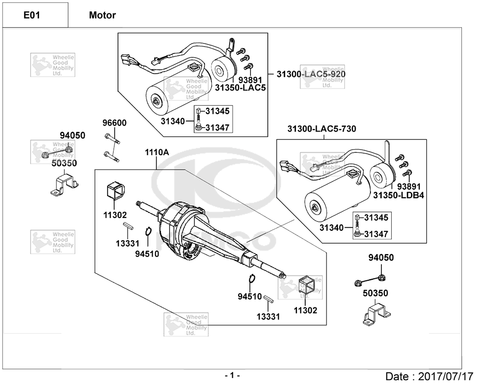 Kymco Midi For U EQ30AA Mobility Scooter Diagram Directory