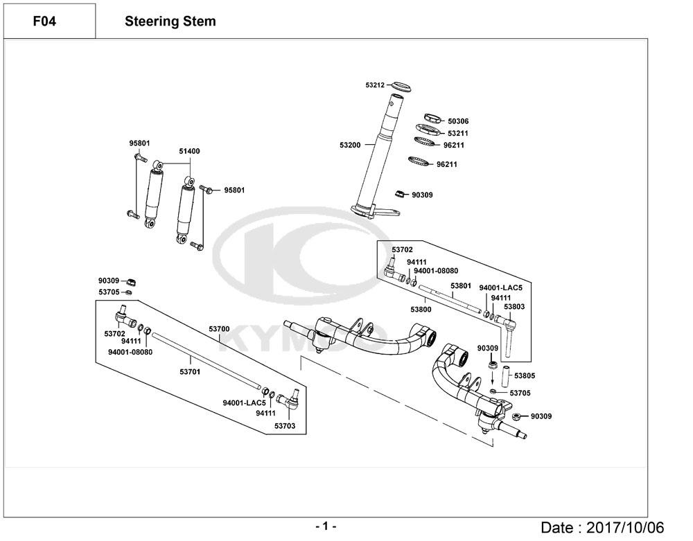 Kymco Maxer EQ40DA Mobility Scooter Diagram Directory