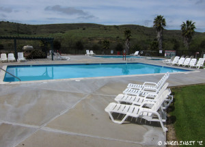 View of lovely pool/jacuzzi area. It's a great place to watch the sunset.