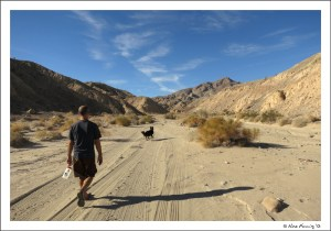 Hiking the sandy bed towards the slot canyons