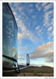 Cool cloud reflections on our rig