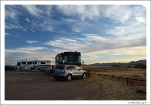 Evening view of our 2 rigs at the boondocking site