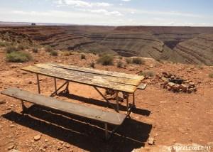 Picnic table near the entrance