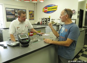 Paul chats w/ Jeff after the work is done